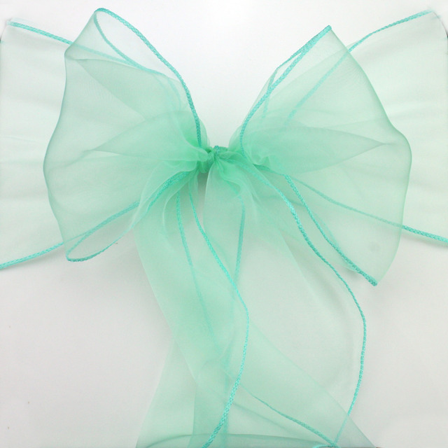 Fatory Price 100pcs High Quality Mint Green Organza Chair Sashes Bow Cover  Wedding Banquet Venue Decoration