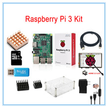 Wholesale prices Raspberry Pi 3 Kit / 3.5 inch HDMI LCD Touch Screen +Transparent Case+2.5A Power Supply +8GB TF Card+Heatsinks+HDMI Cable