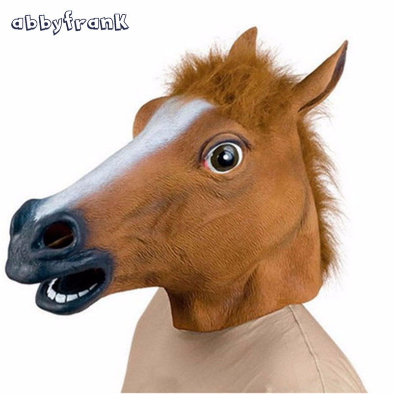 Abbyfrank Prank Toys Horse Head Mask Full Head Latex Rubber Creepy Party Halloween Decoration Animal Mask Antistress Fun Toys