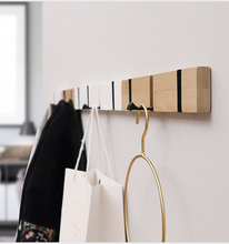Wood Wall Hanger Bamboo Alloy Rack Hooks Holder Clothes Storage Organizer  Hidden Hook For Hanging Home Decor