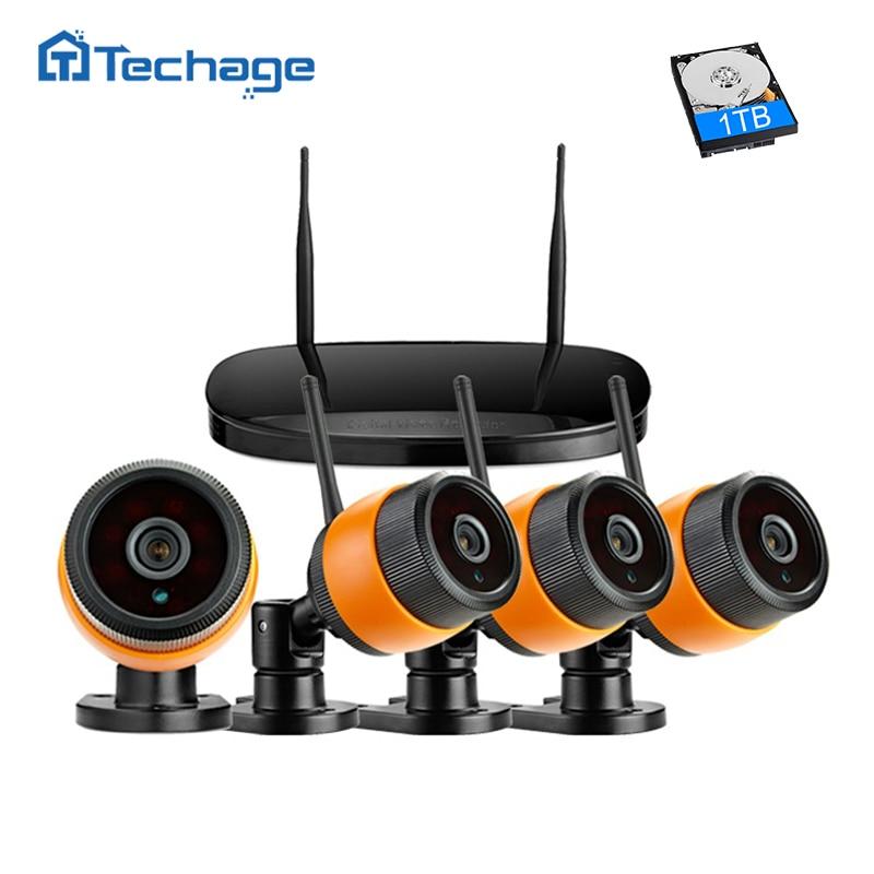 Techage 4CH 720P Wireless NVR Kit WIFI CCTV System Indoor Outdoor Waterproof 1.0MP IP Camera P2P Video Security Surveillance Set