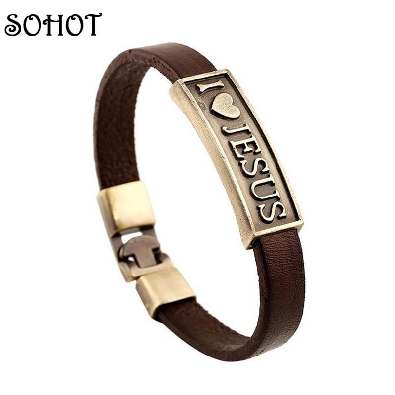 SOHOT Vintage Religious I love Jesus Genuine Leather Braceles