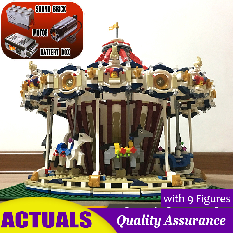 Grand Carousel 15013A 10196 Creator Building Blocks Rotates Toys Christmas Gifts with Electric Motor Power