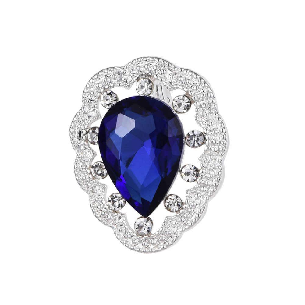 Vintage Tetesan Air Biru Kristal Berlian Imitasi Bros untuk Wanita Sesuai dengan Topi Klip Segarkering Merek Bijoux Bros Perhiasan