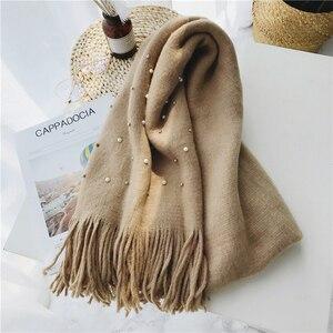 Image 5 - Luna & Dolphin bufanda de punto para mujer, pañuelo de invierno cálido, con perlas, cuentas de uñas, bufandas suaves, borla de lana, manta de Pashmina grande