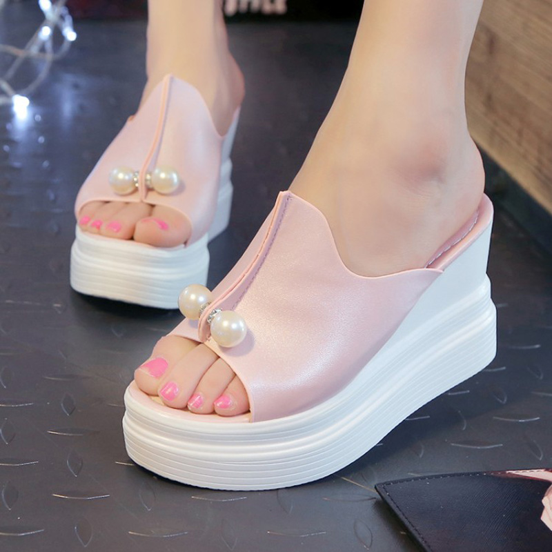 Elegant pearl 2015 gentlewomen open toe wedges female slippers platform ultra high heels fashion sandals
