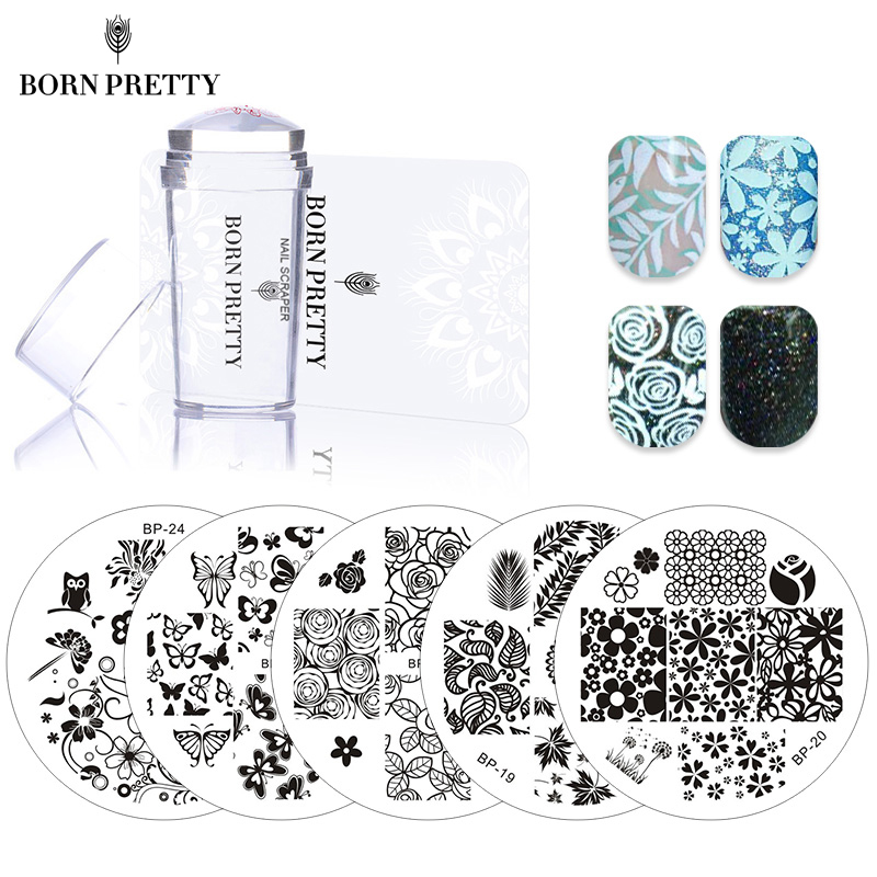 BORN PRETTY 5 Pcs Flowers Nail Stamping Plates Set with Clear Jelly Stamper Scrapper Flower Leaf Nail Art Image Plate Kit