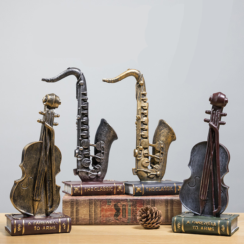 Retro Musical Instrument Statue Saxophone Tuba Violin Modern Art Resin Craftwork Home Decor L2970Retro Musical Instrument Statue Saxophone Tuba Violin Modern Art Resin Craftwork Home Decor L2970