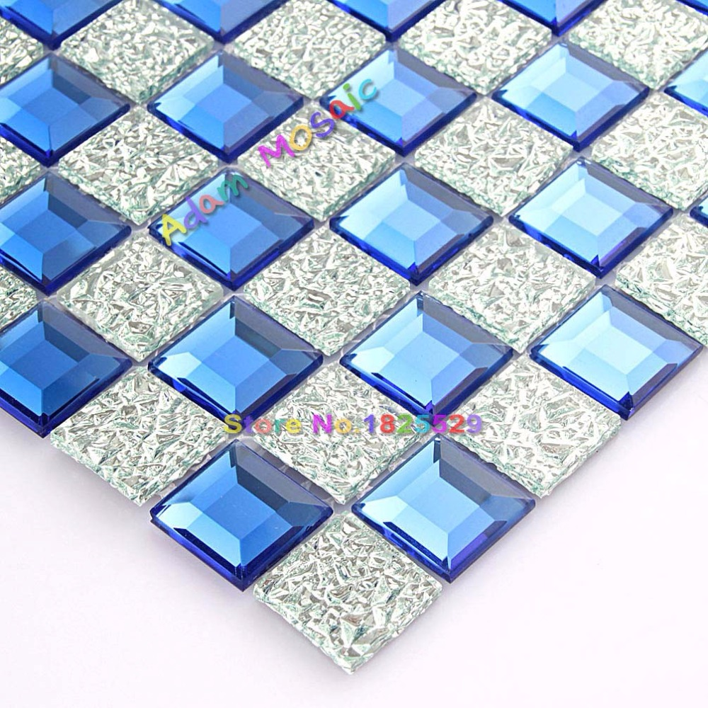 Glass Mirror Tile Blue Backsplash Kitchen Silver Diamond Mosaic ...