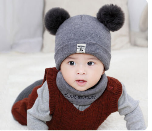 Children Baby Boy Girl Kids Infant Winter Pompom Ball Knit Hat Cap Beanie Bonnet Scarf 2PCS Baby Clothes Accessories for 0-12M