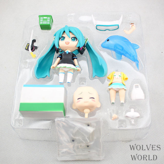 10cm Hatsune Miku Q version Multi-face Anime Collectible Action Figure PVC toys for christmas gift with retail box
