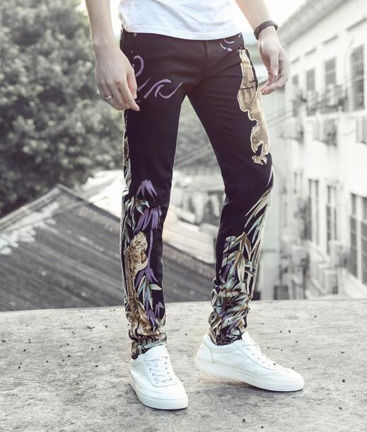 ФОТО Street black printing eagles feet pants man fashion true jeans men famous brand mens pants skinny jeans men straight trousers 1