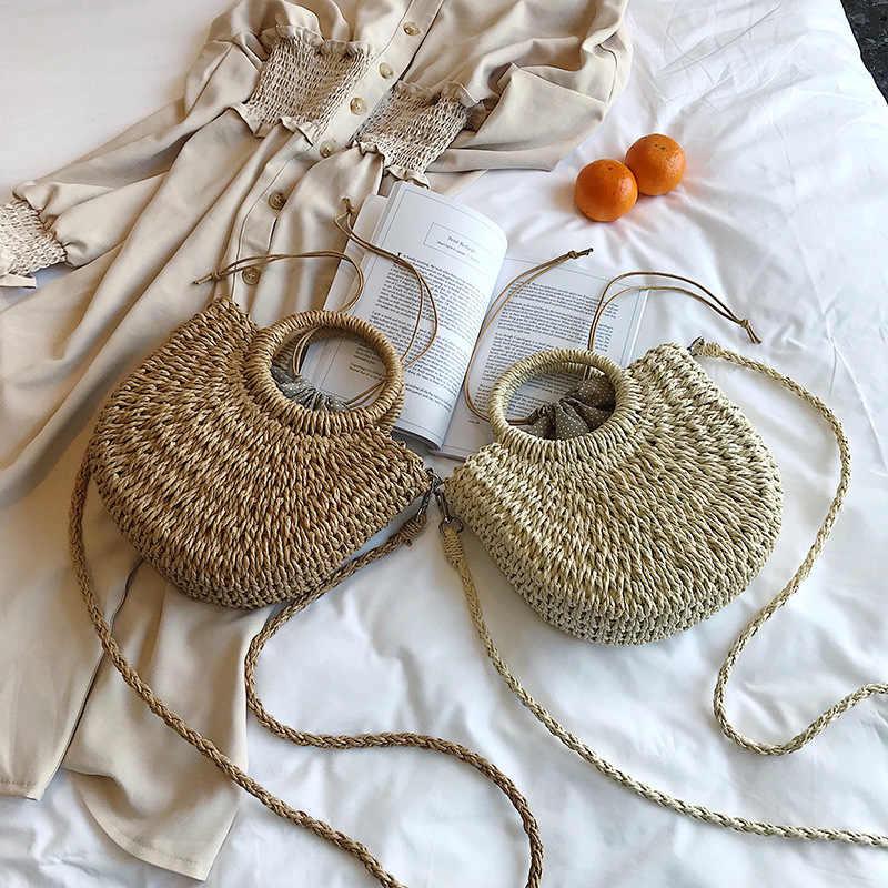 2019 Nova Verão Handmade Sacos de Mulheres Praia Envolto Saco de Tecelagem de Palha Das Senhoras das Mulheres Da Lua Em Forma de Sacos de Praia Boêmio Crossbody saco