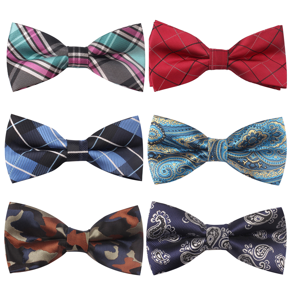 New men/'s self tie free style bowtie paisley polyester formal wedding Brown