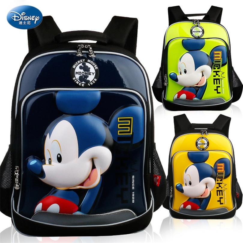 Disney 2018 Mickey Minnie Waterproof Orthopedic Backpack School Bags for Boys Cartoon Iron Man Schoolbag Kids Satchel Grade 1-3 дисней disney детский школьный портфель студентов мужского пола в младших классах 1 3 grade автомобили обременяет мешок плеча 1 grade 3 rb0085b navy