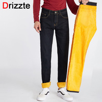 Drizzte Winter Mens Stretch Thicken Jeans Warm Fleece Flannel Lined Quality Denim Jean Pants Trousers Size