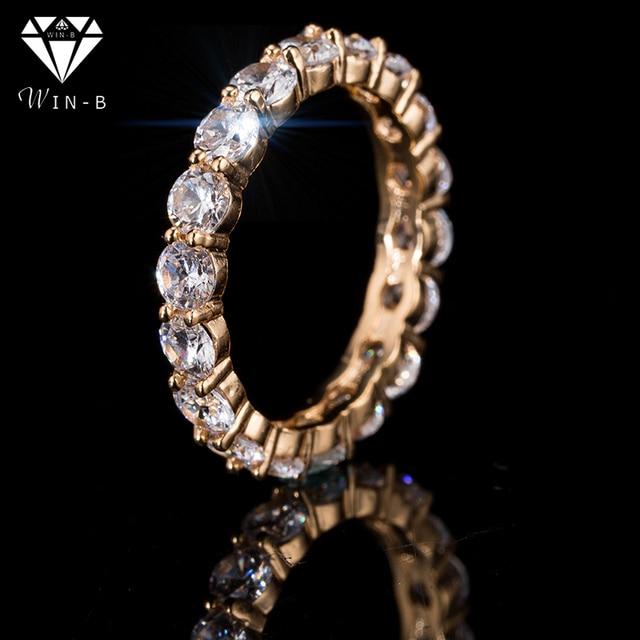 WIN-B אירוסין טרנדי ringen voor vrouwen תכשיטי קסמי קריסטל AAA Zirconia מערך נוצץ טבעת חתונת לילה שמלה