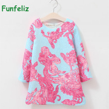 Spring Little Girl Dress Long Sleeve Princess Girls Dress Pink Print Cotton Children Dresses Kids Clothes 2-12 Years cotton teenage princess girls dresses children summer 2018 sundress off shoulder pink green big little girls dress kids clothes