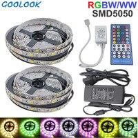 5050 RGBW LED Strip light RGB+Warm/White 10M 60led Flexible Waterproof neon tira Ribbon Tape 40Key Controller DC 12V Adapter Set