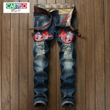 CARTELO Men's new jeans fashion men's high-quality foreign trade jeans trend Slim long pants carp embroidery 937-1