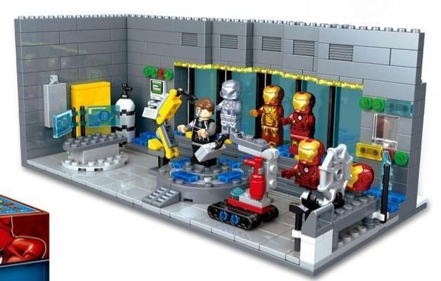 SY305 Marvel DC base De Laboratorio Subterráneo de ensamblaje 3D Avengers Iron Man Iron Man figuras ladrillos del bloque hueco juega