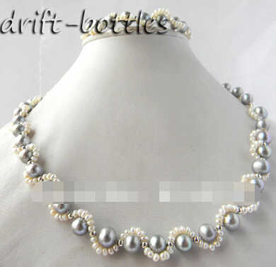LL<<<2Strands 9mm Round Gray White Freshwater Pearl Bracelet Necklace Set