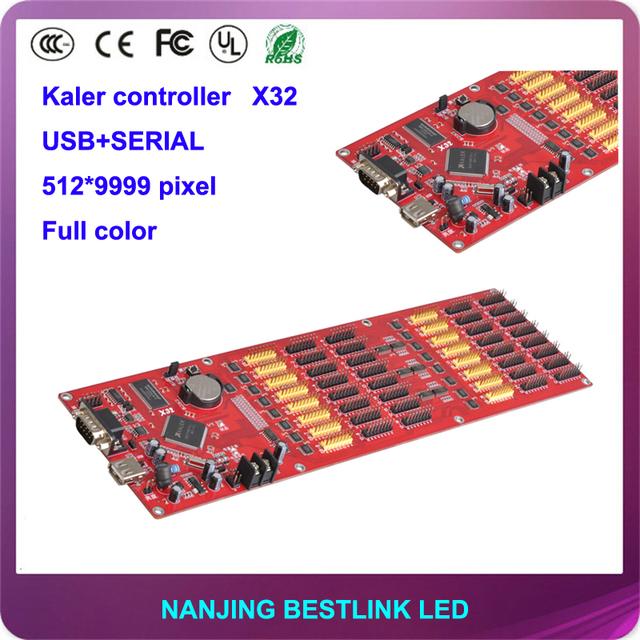 Kaler levou fornecimento X32 full color cartão de controle USB/porta SERIAL LEVOU placa controladora 512*9999 PIXEL rgb display led-display led-tv