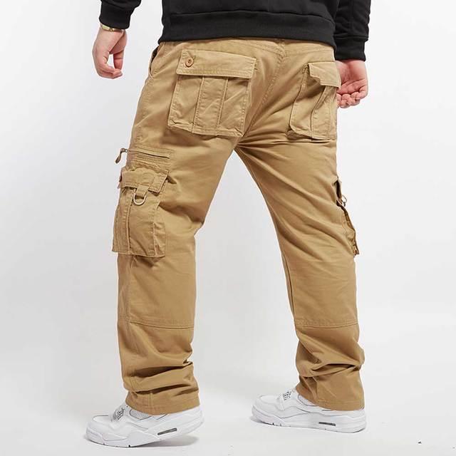 Fabulous Men's Plus Size Cargo Pants Khaki Multi Pockets Baggy Loose Fit  MJ68