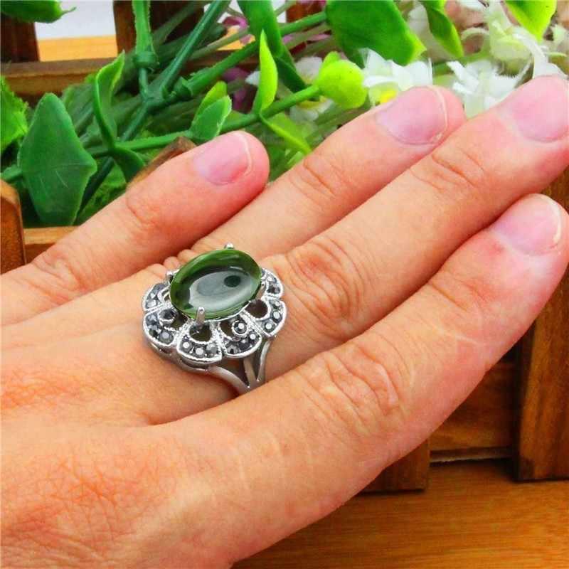 สีเขียวคริสตัลแหวนผู้หญิงวินเทจโบราณเงินชุบ Rhinestone พลัมดอกไม้แฟชั่นเครื่องประดับ TR696