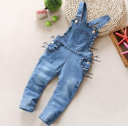 1-2.5Y novas meninas 2016 primavera amo coração jeans menina geral do bebê calça jeans meninas macacões roupa das crianças