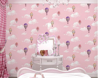 Beibehang Environmental Personality Children Room Lovely Mediterranean Wall Paper Blue White Sky Hot Air Balloon 3d