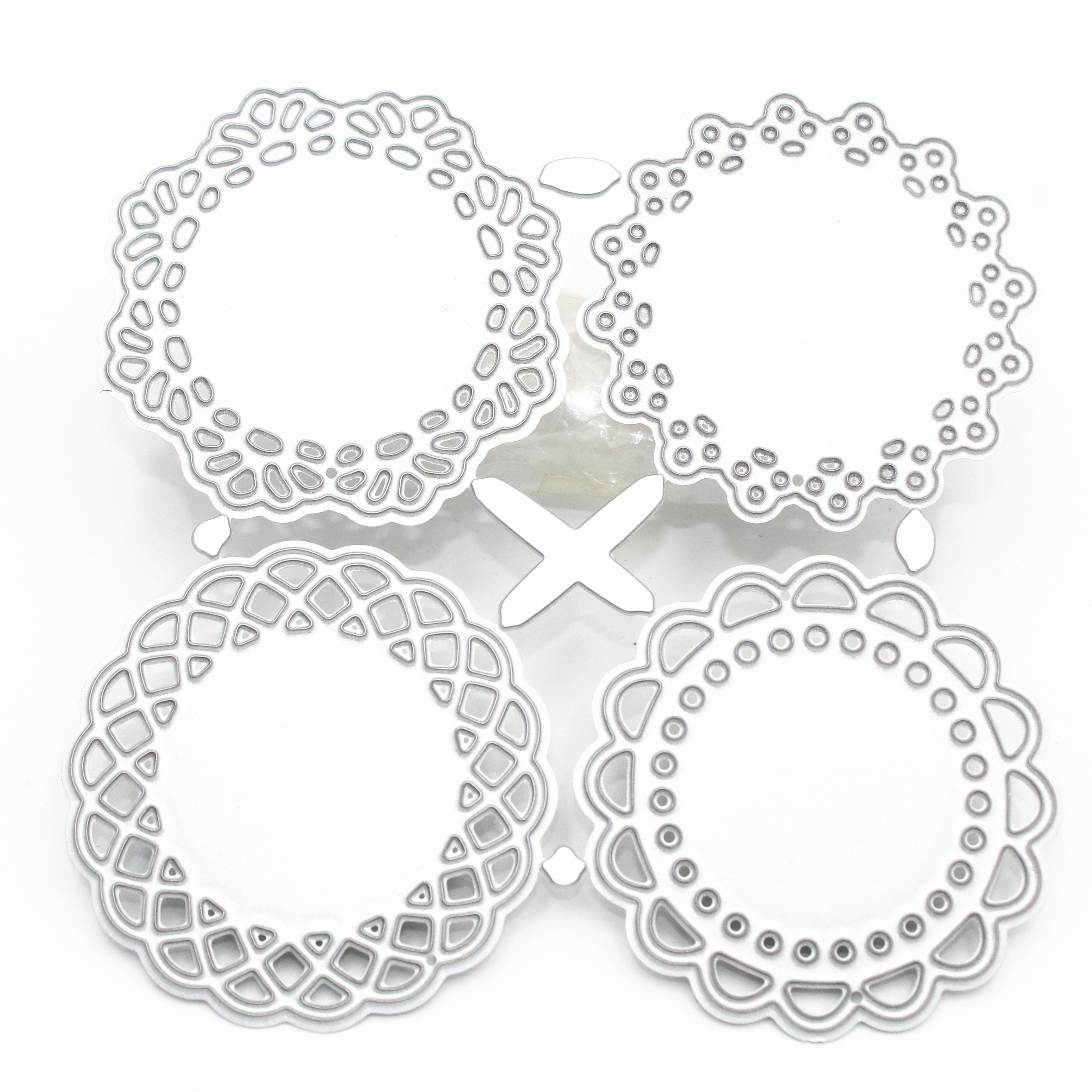 4Pcs Lace Edge Circle Frame Metal Cutting Die Stencils For DIY Scrapbooking Album Decorative Embossing Hand-on Paper Cards