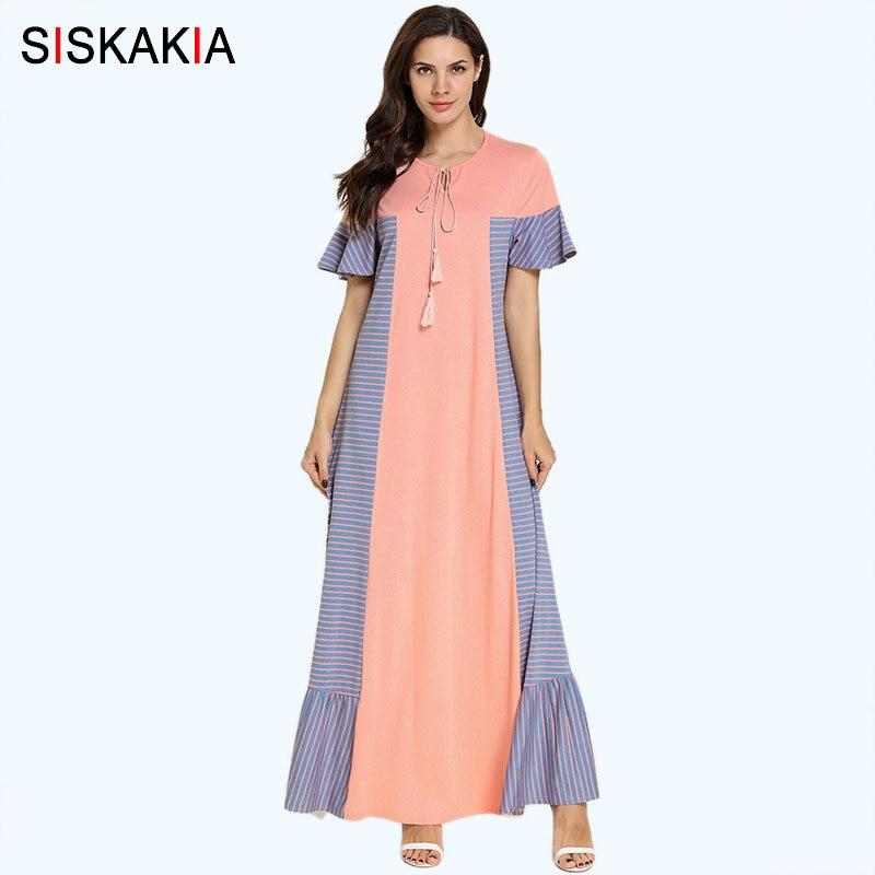 Siskakia Plus Size Summer Long Dress Sweet Ladies Arabic Casual Clothes Fashion Stripe contrast Color Patchwork