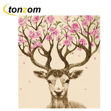 RIHE Pink Deer Drawing By Numbers DIY Animals Painting Handwork On Canvas Oil Art Coloring Home Decor 2018