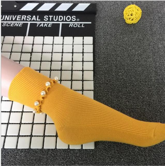 2017 winter new women's socks original design high-end custom pearl beading cotton socks for women gift socks 5 colors