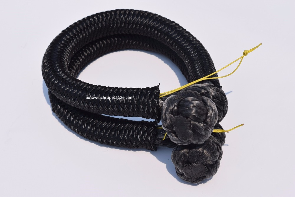 2pcs Black 9mm*120mm UHMWPE Soft Shackle,Rope Shackle,ATV Winch Shackle For Off Road,Synthetic Winch Rope Cable
