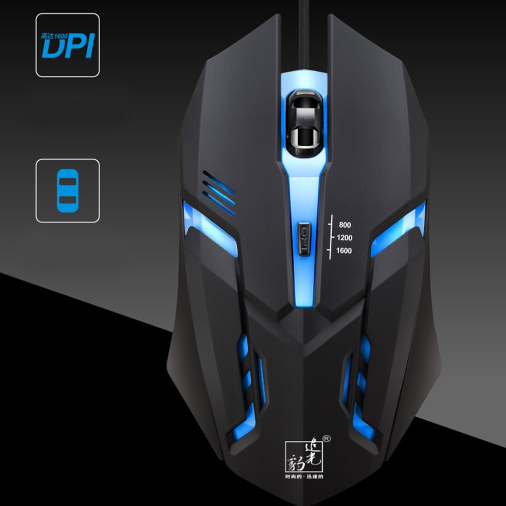 K2 800/1200/1600DPI Adjustable Wired Gaming Mouse LED Optical USB Computer Mouse Gamer Mice Computer Accessories