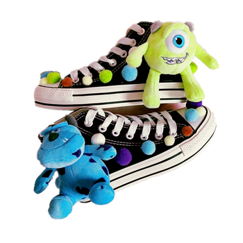 Spring Harajuku two yuan high shoes anime cartoon monster college custom canvas shoes increased thick platform shoes women