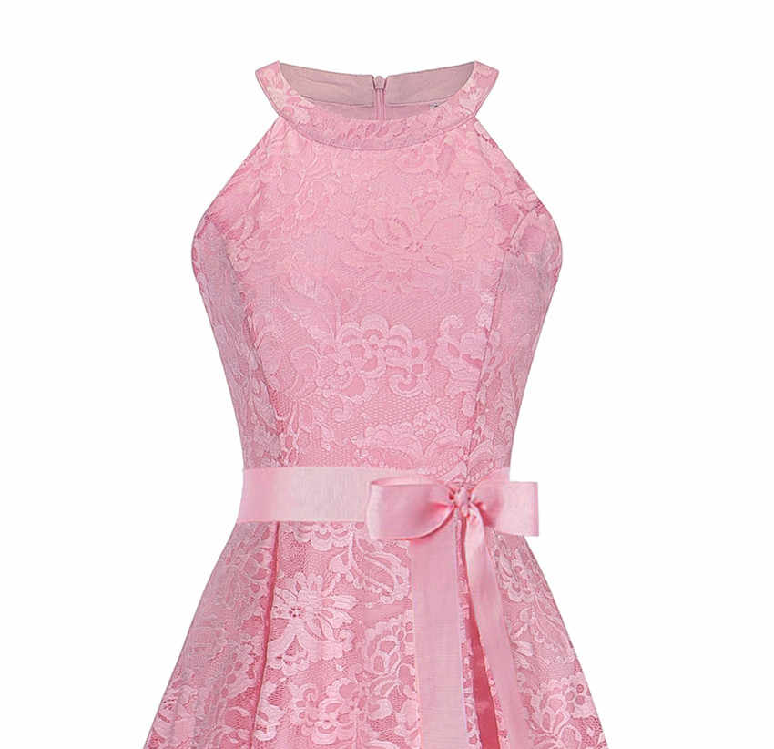 ... OML526F Front short long back pink halter Bow Bridesmaid Dresses  wedding party dress prom gown 9d950c222c8f