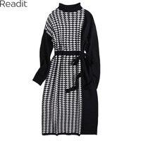 Readit Knitted Dress 2017 Autumn Winter Woman Dress Black White A Line Dress With Belt O