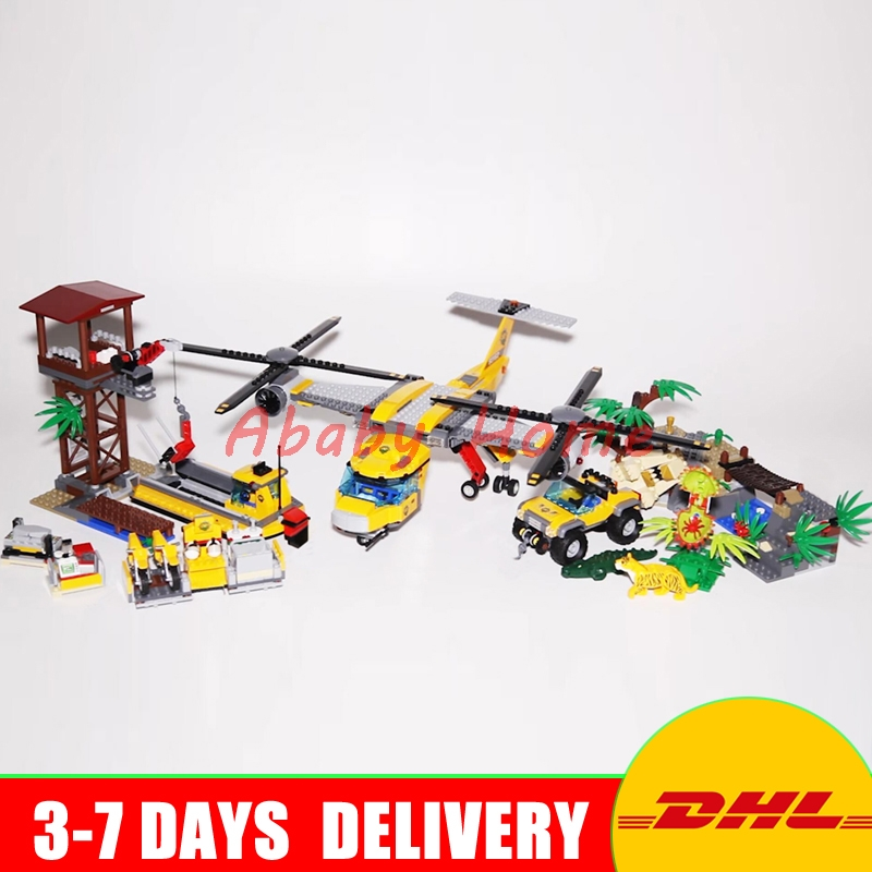 Lepin 02085 The Jungle Air Drop Helicopter Set Genuine DIY City Series 60162 Building Blocks Bricks Christmas Toy New Year Gifts walking through the jungle