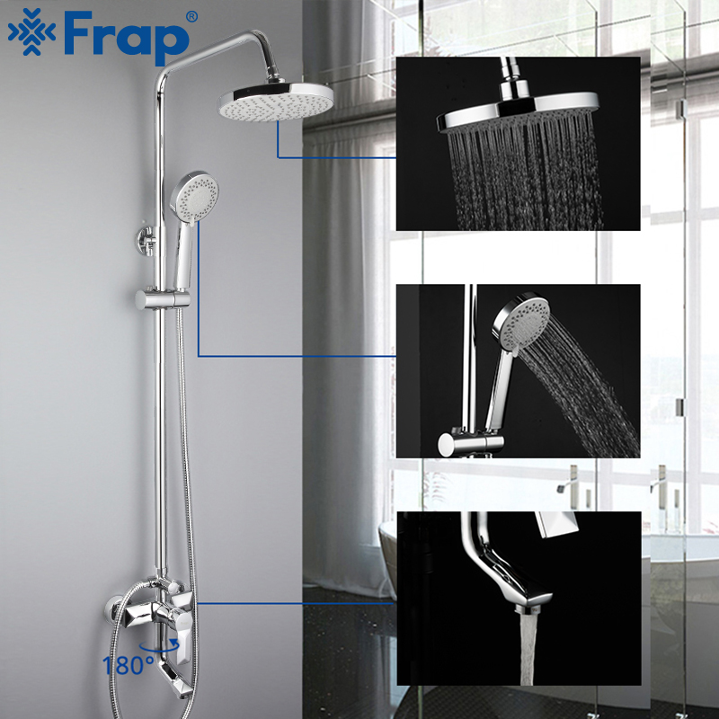 FRAP Sanitary Ware Suite bathroom shower faucet bath shower mixer sets taps rainfall shower head set waterfall bathtub faucet