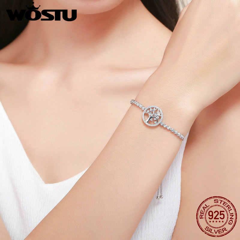 WOSTU authentique 100% argent Sterling 925 arbre de vie Tennis Bracelet femmes réglable lien chaîne Bracelet argent bijoux FIB035