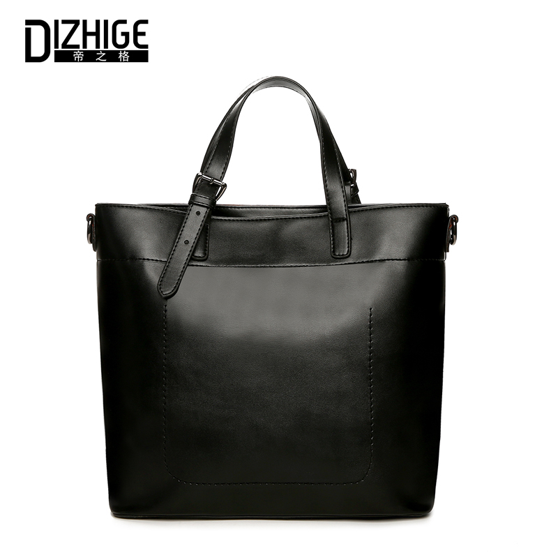 DIZHIGE Women Shoulder Bag Female Solid PU Leather Big Bucket Ladies Handbag Large Capacity Rivet Bags New Famous Brand Designer vvmi 2016 new women handbag brand design rivet suede tassel bag chic classic vintage saddle bag single shoulder bag for female