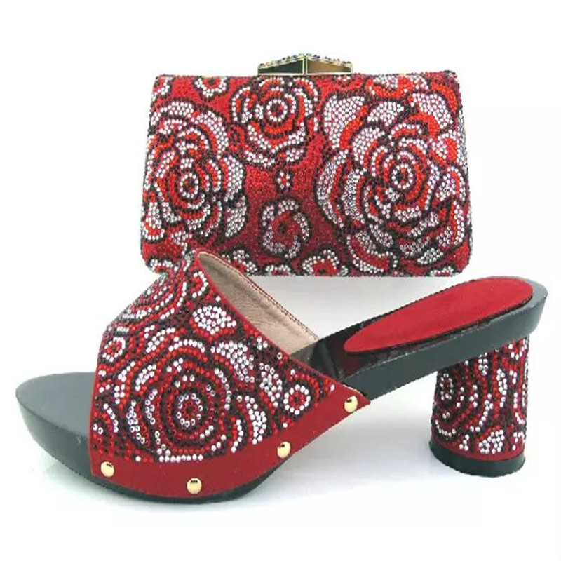 ФОТО African Sandals Italian Shoes and bags to match high quality lady shoes with bag set For Party HY3013 RED COLOR
