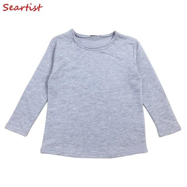 65e62ca7d4f9 Baby Boys Girls Plain T-shirt Kids Long-sleeved Plain Black Gray White T  Shirt Boy Girl Cotton Tee Tops 2019 New Arrival 25
