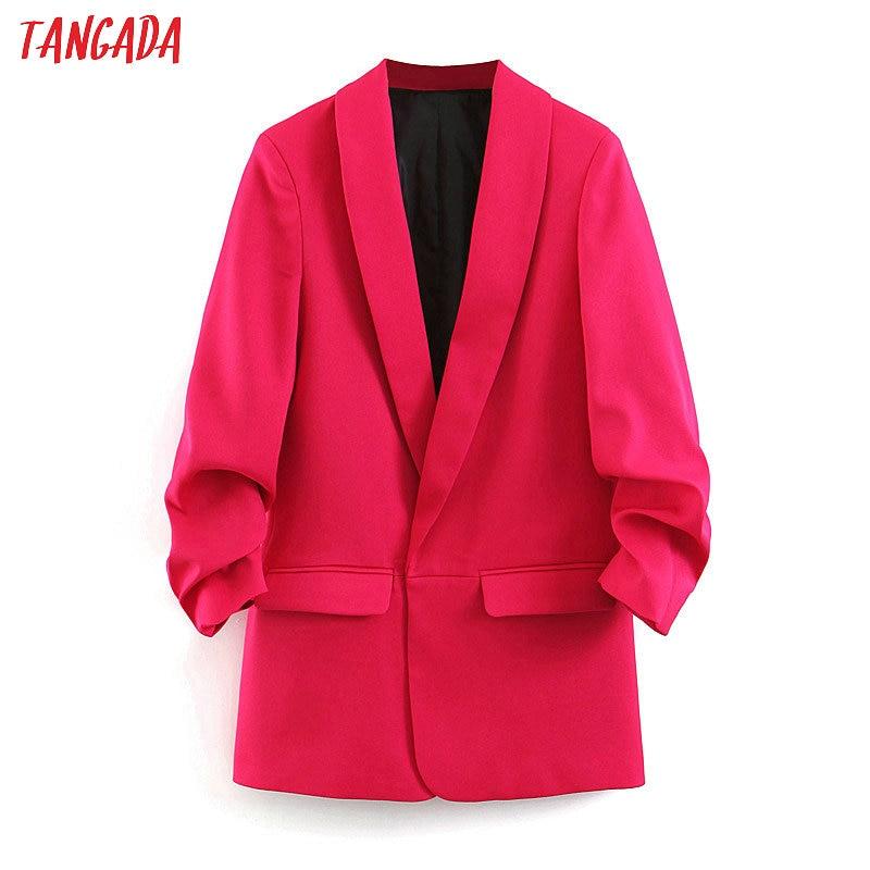 Tangada Women Chic Solid Blazer Pockets Buttons Office Lady Hotpink Blazer Long Sleeve Coat Female Outerwear Jacket Tops SL381