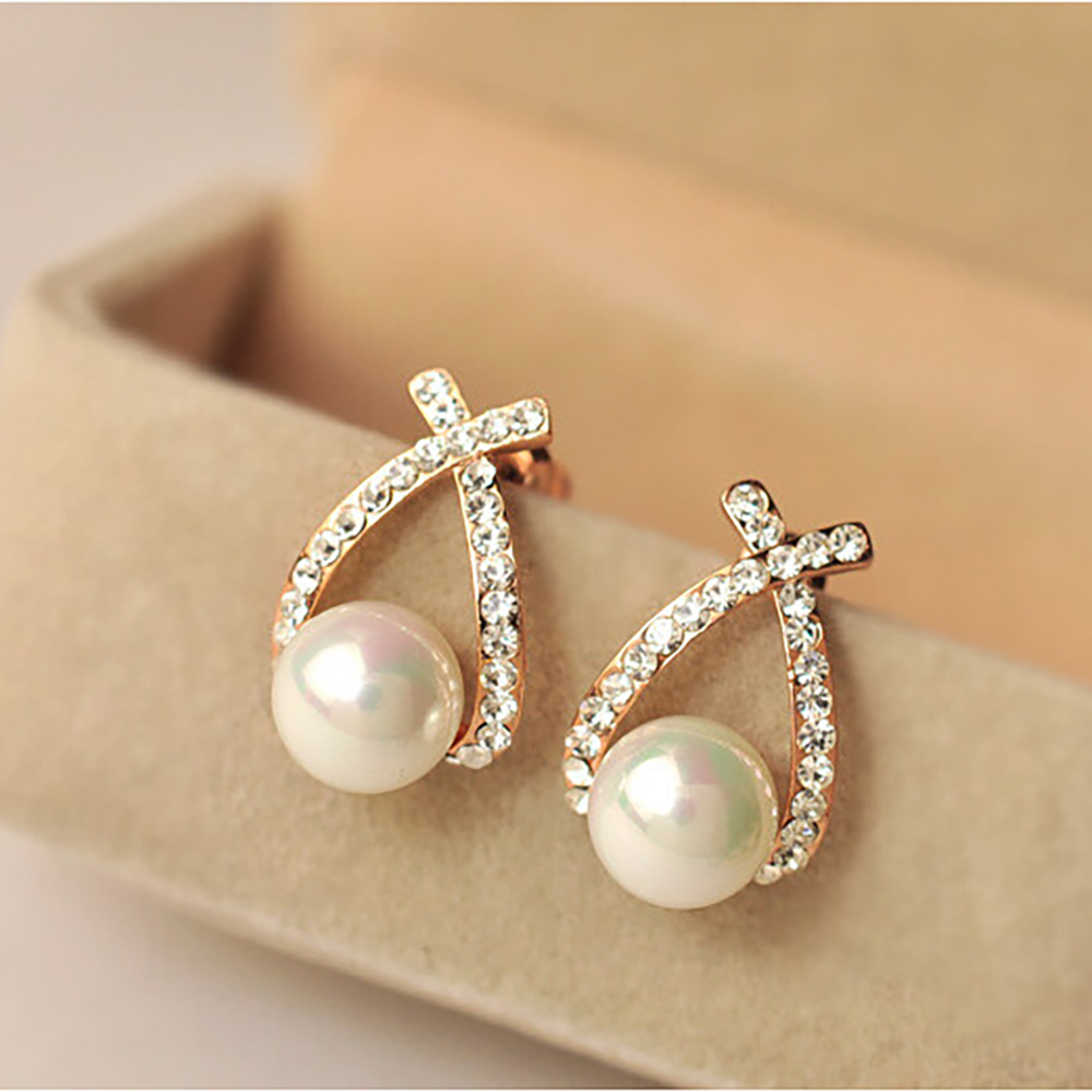 Korea New Fashion Gold Silver Color Cross Crystal Stud Earrings For Women Elegant Cute Pearl Earrings Brincos Jewelry Wholesale