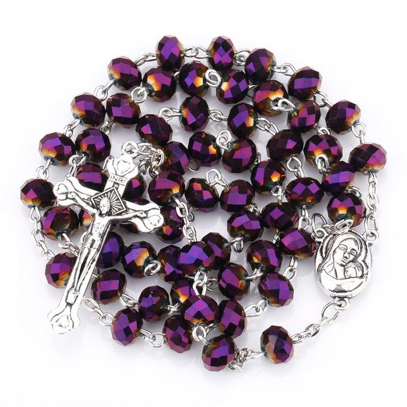 Virgin Holy Christ Cross Necklace Charming Purple Glass Crystal Catholic Rosary Necklace Polychrome Prayer Beaded Jewelry