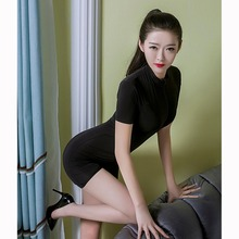 Băng Lụa Dây Kéo Mở Đáy Quần Bodysuit Wetlook Trong Suốt Bodystocking Sexy Hot Erotic Babydoll Pole Dance Clubwear Một Mảnh